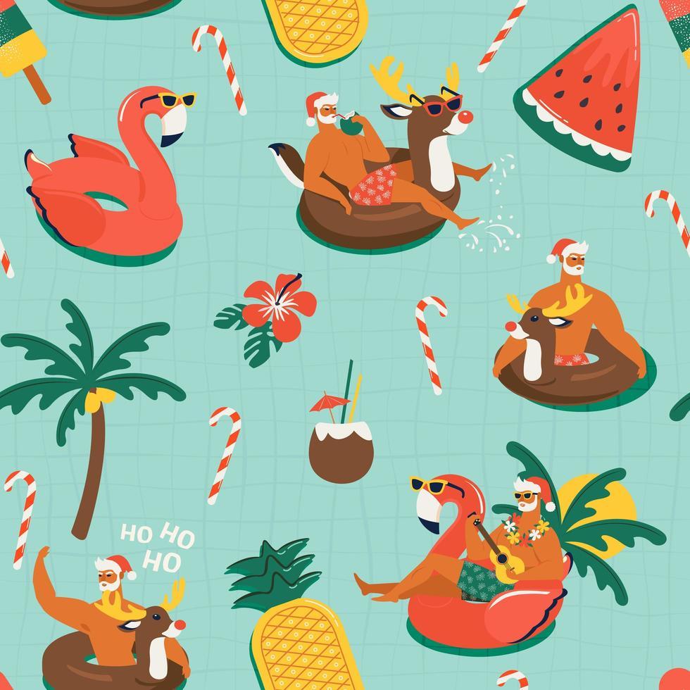 modèle sans couture de Noël avec des animaux drôles mignons de père Noël avec anneau gonflable de rennes et flamant rose illustration vectorielle de Noël tropical. vecteur