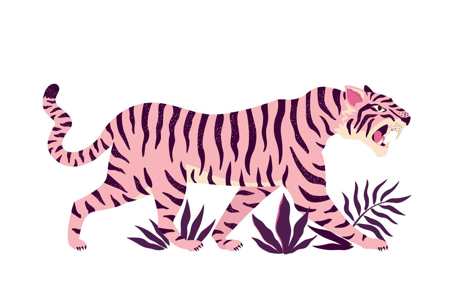 tigre et feuilles tropicales. illustration vectorielle à la mode. vecteur