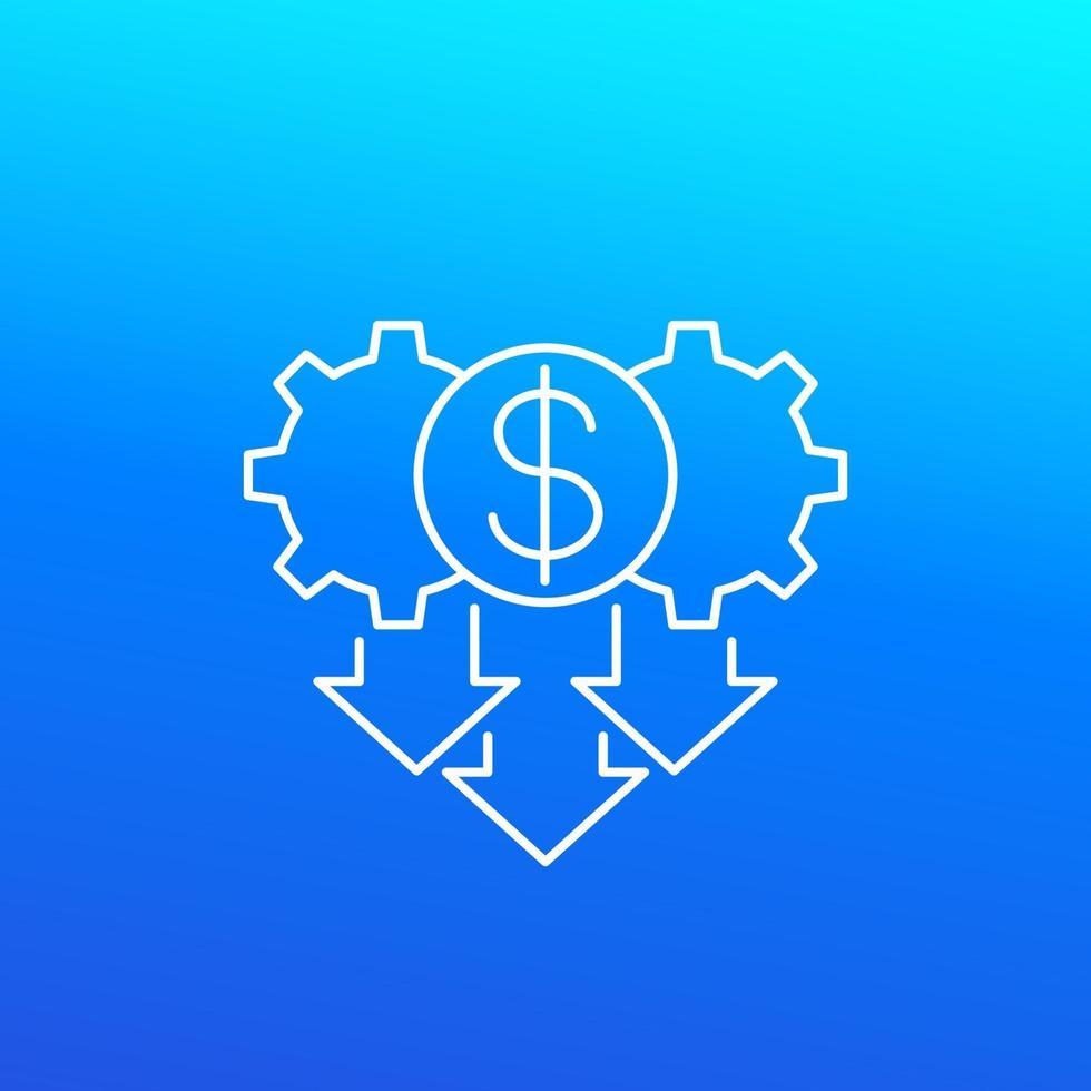 icône de réduction des coûts en design.eps linéaire vecteur