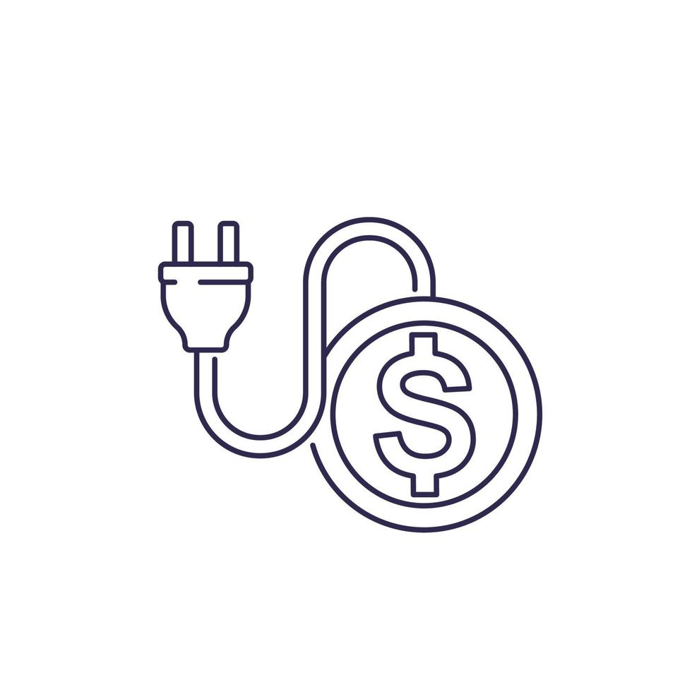 frais d'électricité, icône de la ligne avec prise électrique.eps vecteur