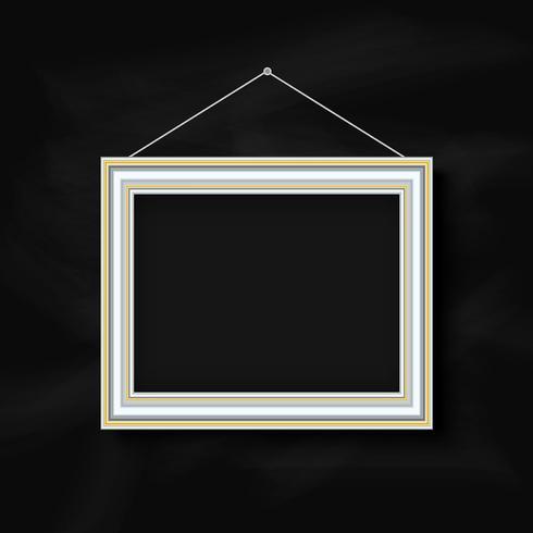 Accrocher le cadre photo sur fond de tableau vecteur