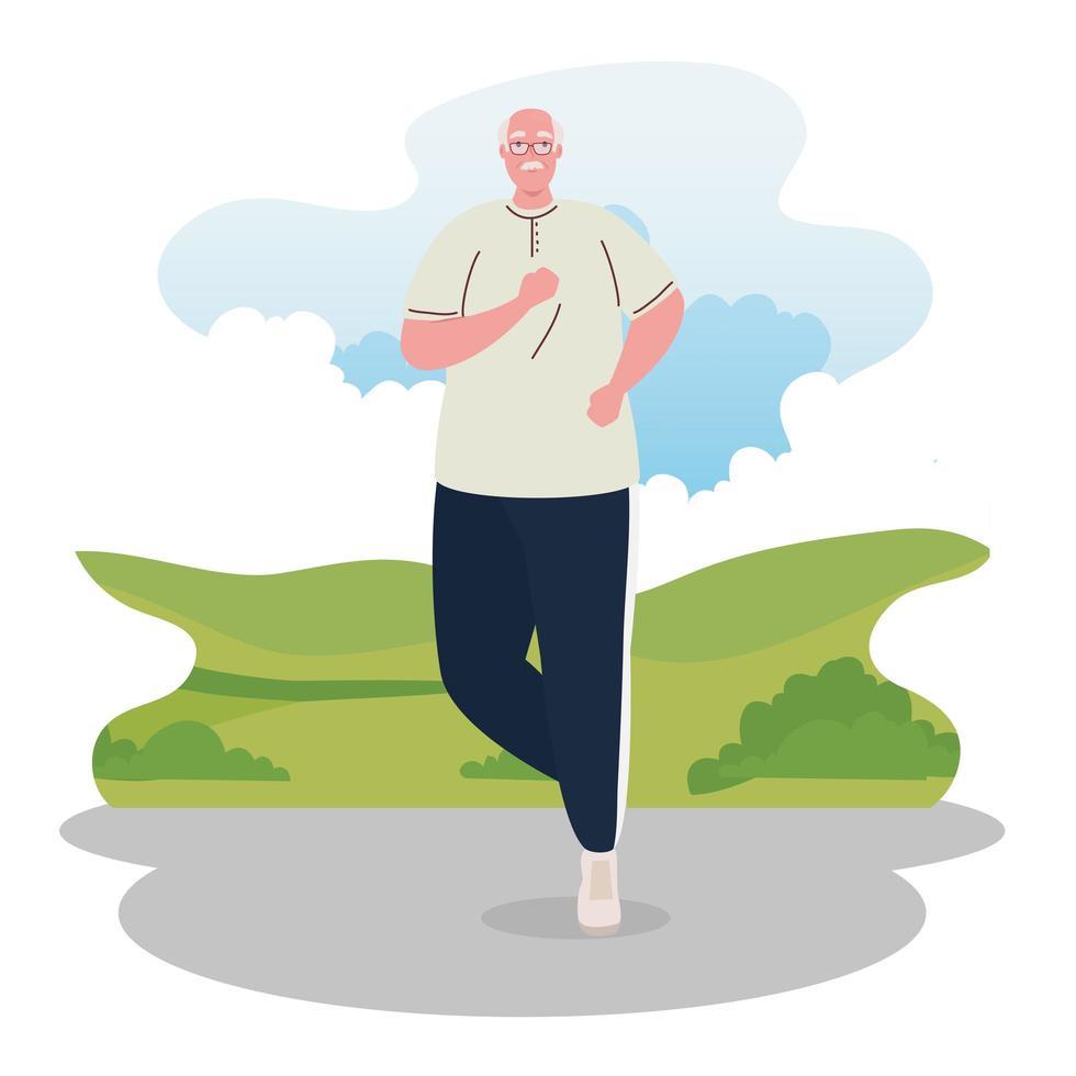 joli vieil homme qui court à l'extérieur, concept de sport et de loisirs vecteur