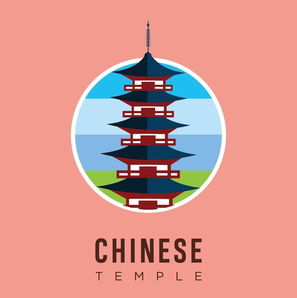 beaux monuments de voyage stock de vecteur de conception de temple chinois. voyage et attraction en Chine, monuments, tourisme, culture traditionnelle et religion