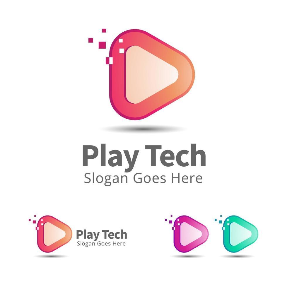 modèle de conception de logo de technologie de jeu vecteur