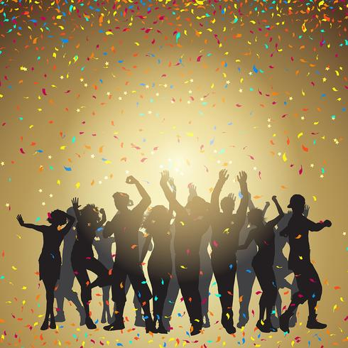 Party people sur un fond de confettis vecteur