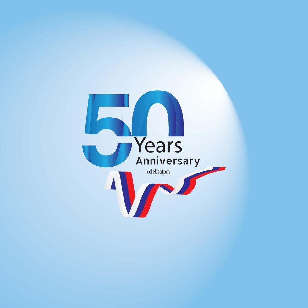 anniversaire carte d'invitation ou emblème - conception de modèle de célébration, éléments de conception moderne anniversaire fond bleu illustration vectorielle vecteur
