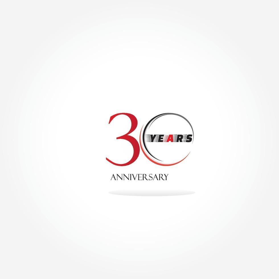 Logo lié anniversaire 30 ans avec couleur rouge isolé sur fond blanc pour l'événement de célébration de l'entreprise vecteur
