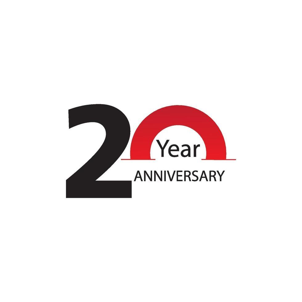 année anniversaire logo vector modèle design illustration blanc et rouge