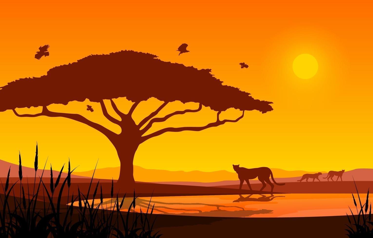 guépards à l'oasis dans le paysage de la savane africaine au coucher du soleil illustration vecteur