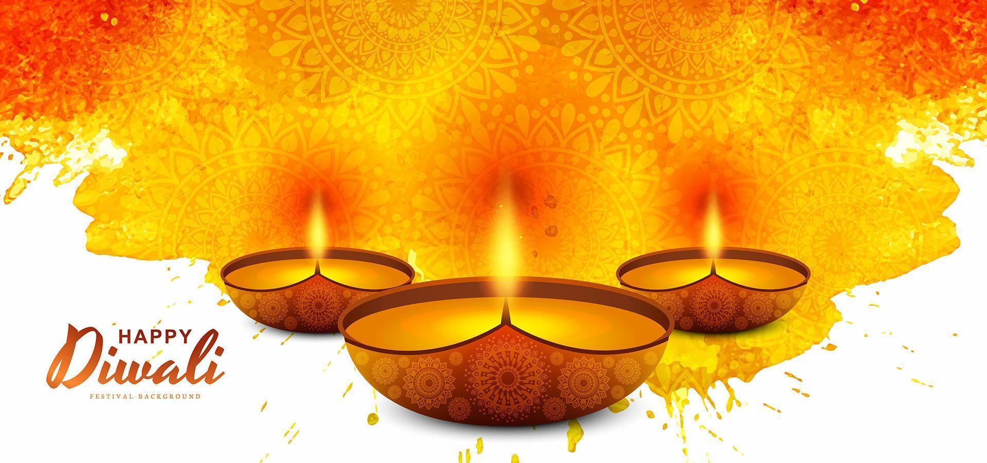 festival de cartes de voeux de diwali coloré à leau artistique vecteur