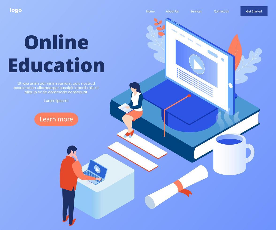 concept d'éducation en ligne pour bannière et site Web. vecteur