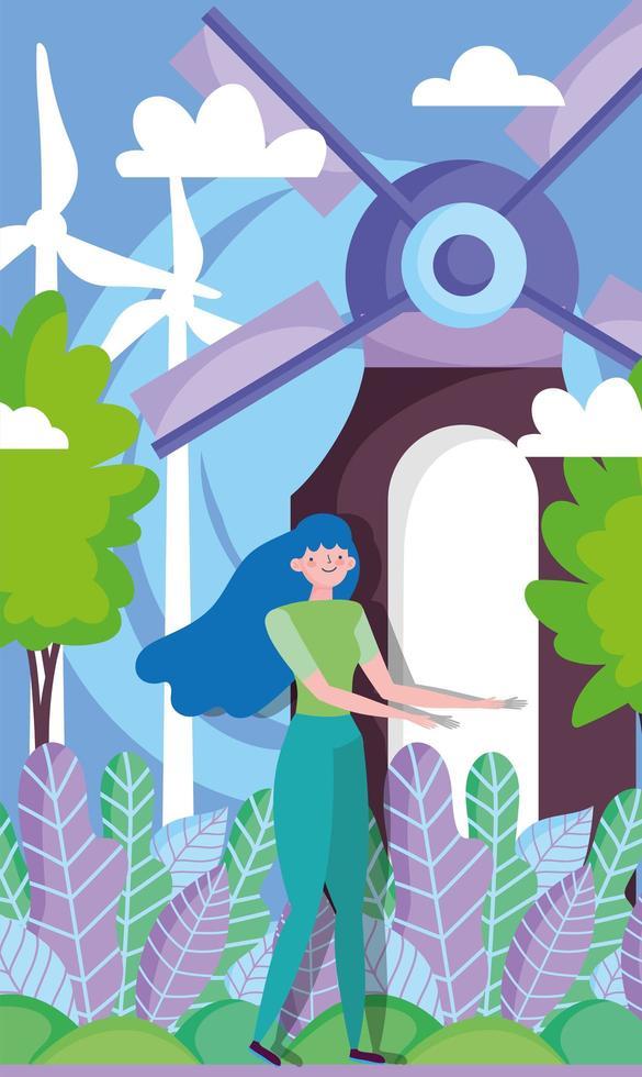 femme avec des éoliennes pour le concept d & # 39; écologie vecteur