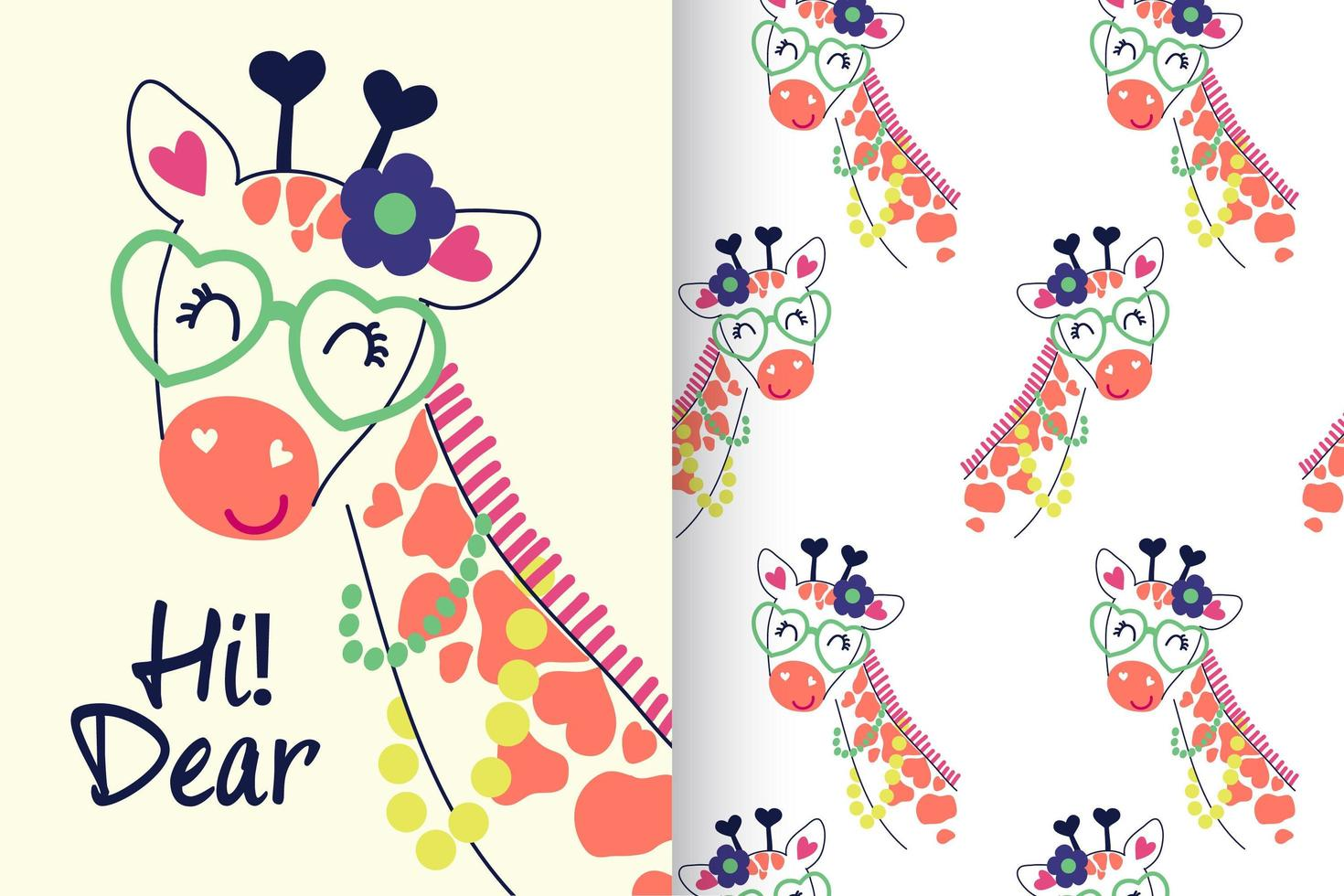 girafe mignonne dessinée à la main avec jeu de motifs vecteur