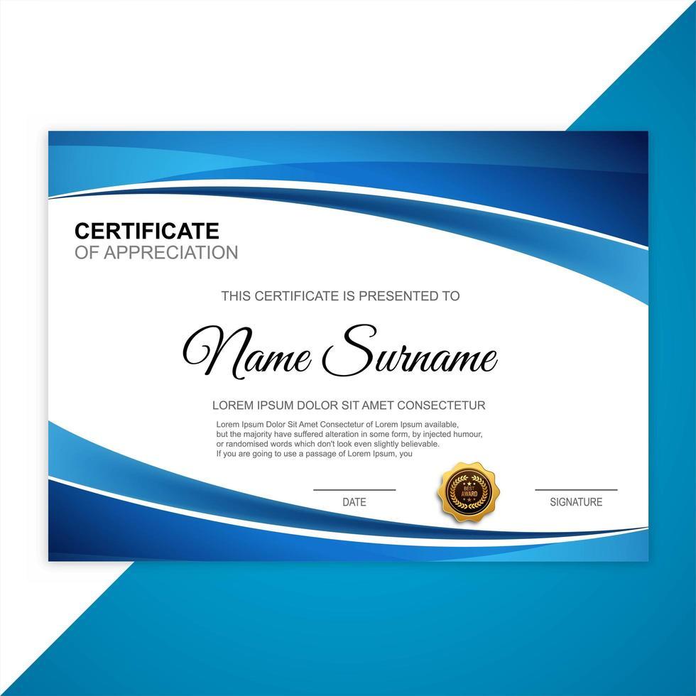 beau modèle de certificat vecteur