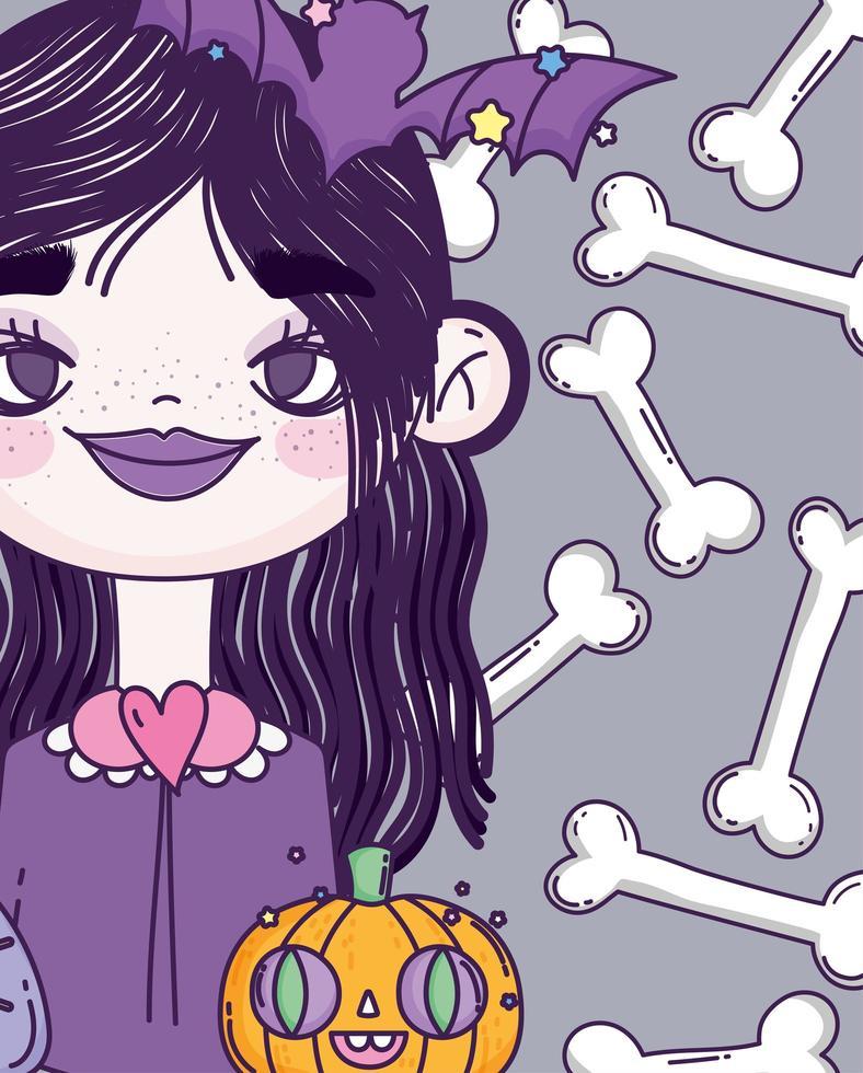 jolie affiche d'halloween avec petite sorcière vecteur