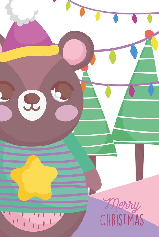 affiche de joyeux noël avec ours heureux vecteur