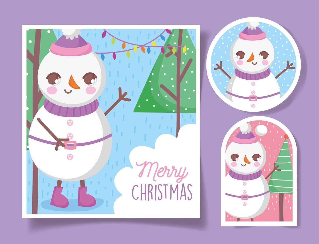 jolies étiquettes de noël avec bonhomme de neige heureux vecteur