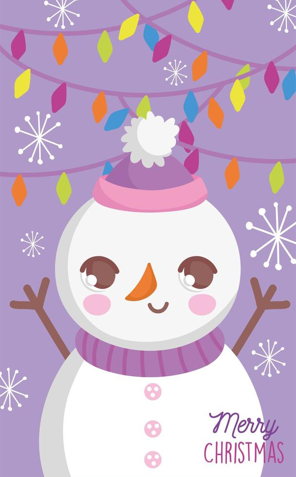 affiche de joyeux noël avec bonhomme de neige heureux vecteur