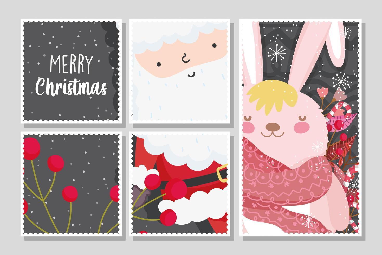 carte de joyeux noël sertie de joyeux père noël et lapin vecteur