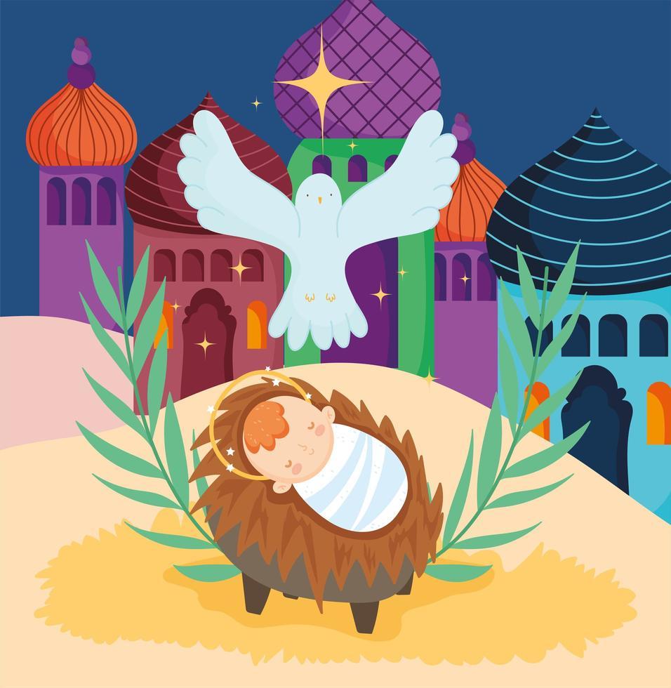 joyeux noël et affiche de la nativité avec bébé jésus dans la crèche et la colombe vecteur