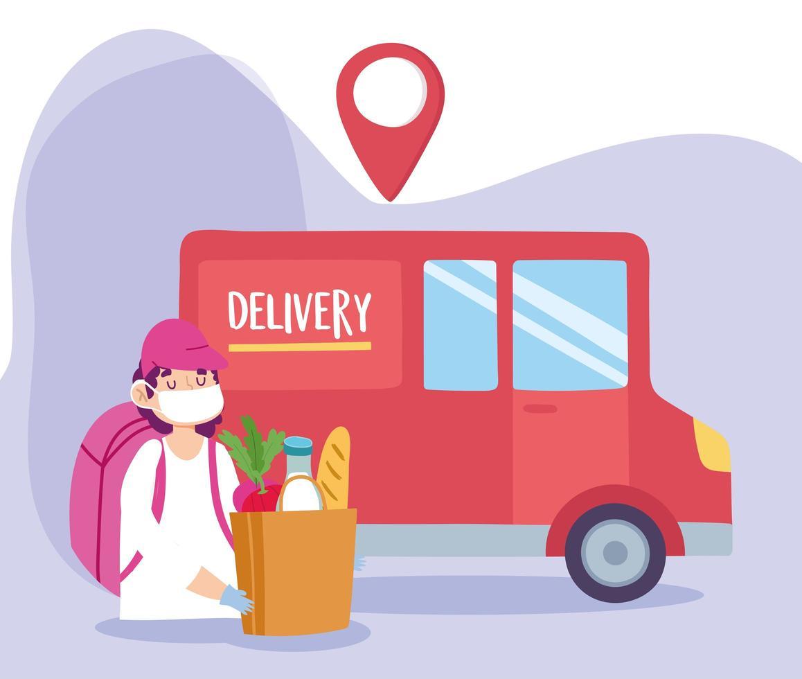 concept de livraison sûre pendant le coronavirus avec courrier et camion vecteur