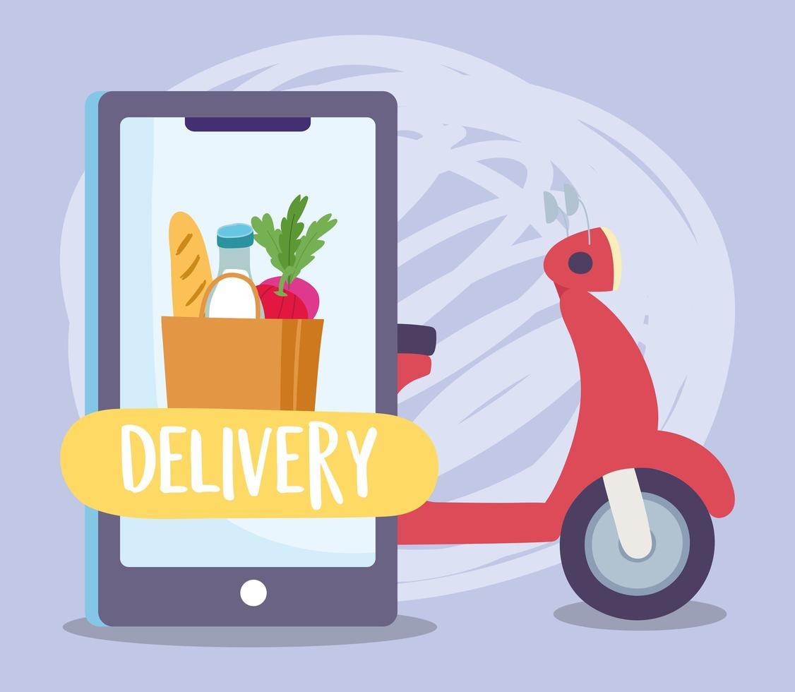 concept de livraison sûre pendant le coronavirus avec smartphone et scooter vecteur