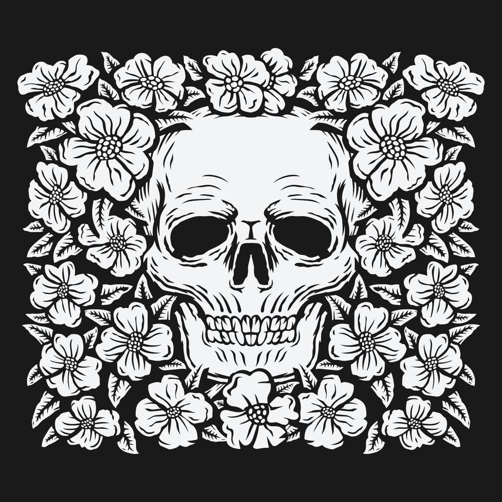 crâne de dessin à la main entouré d'illustration vectorielle de fleurs roses vecteur