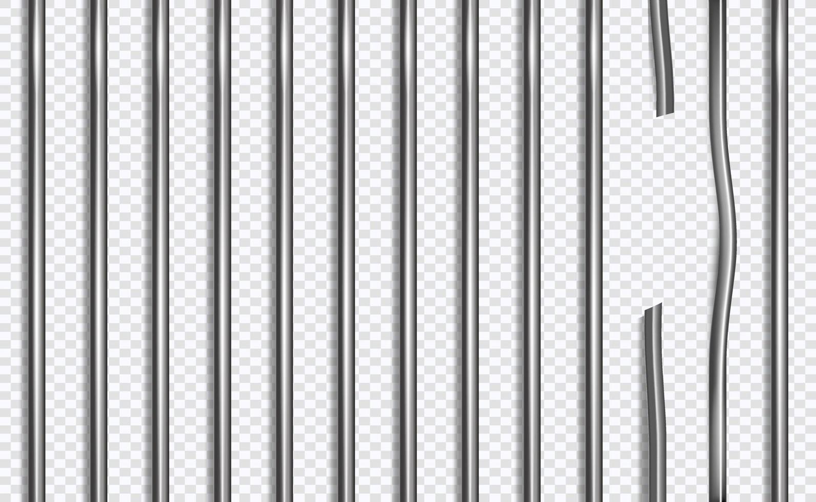 barres de prison cassées dans un style 3d sur fond isolé. illustration vectorielle. vecteur