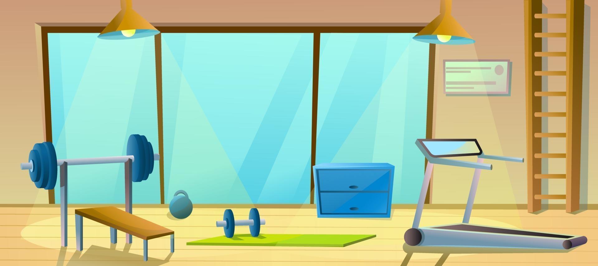 grande salle de gym avec haltères, haltères et tapis roulant. intérieur sport. gymnastique saine. salle d'entrainement. vecteur
