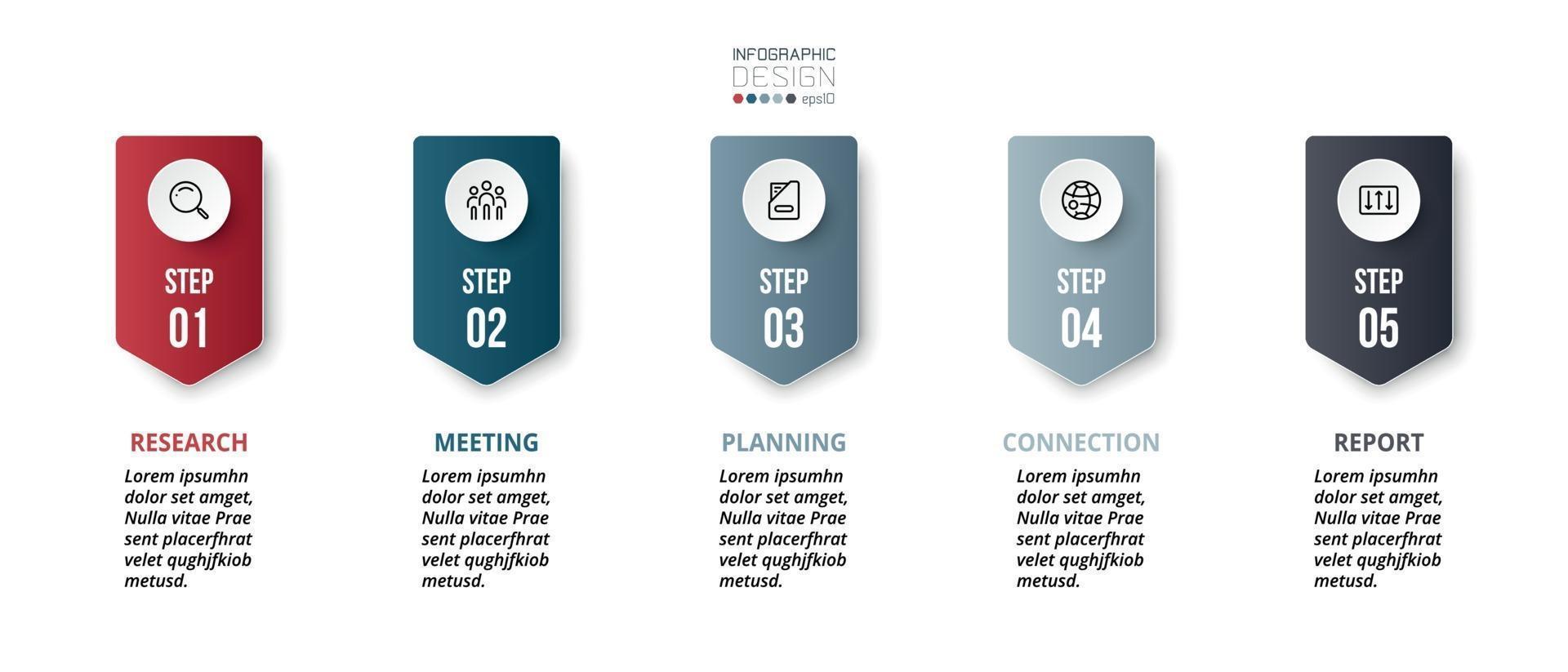 planification à travers 6 flux de travail. apporte de nouvelles idées sur les entreprises ou les entités. vecteur