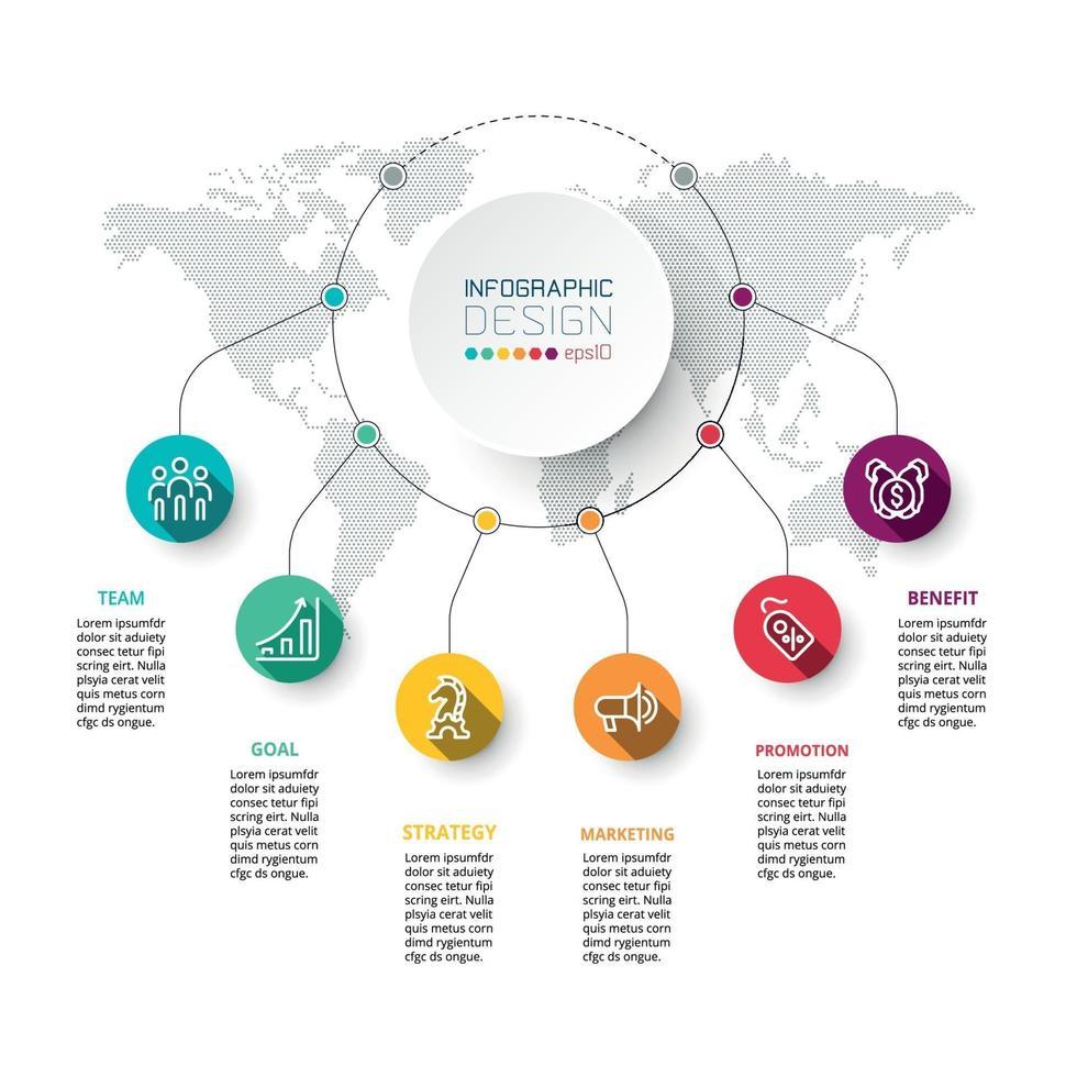 processus de travail circulaire pour afficher les résultats et les rapports commerciaux ou éducatifs pour la conception infographique. vecteur