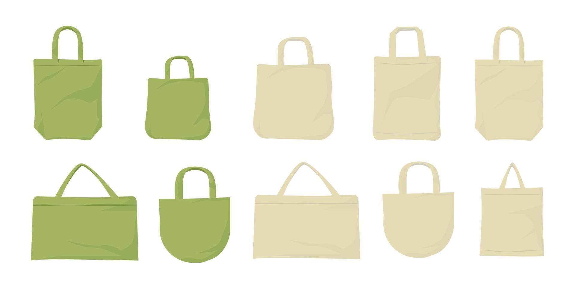 sac en tissu écologique. sac grand ensemble. vecteur