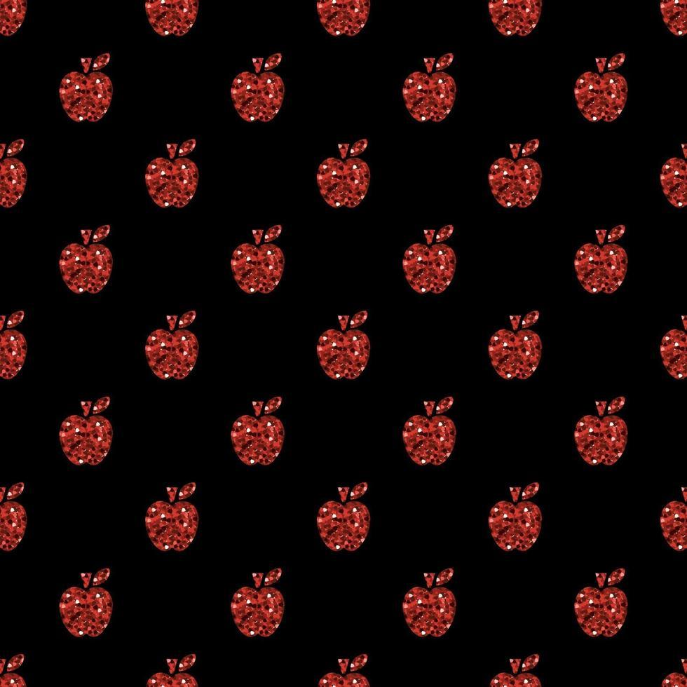 fond transparent pomme de paillettes rouges vecteur