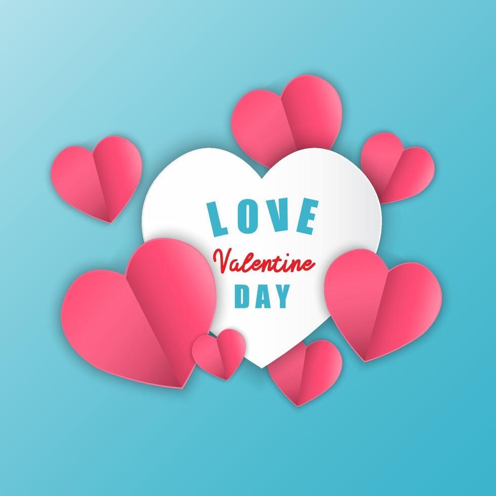 amour pour la Saint-Valentin. coeur de papier sur fond bleu. illustration vectorielle. vecteur