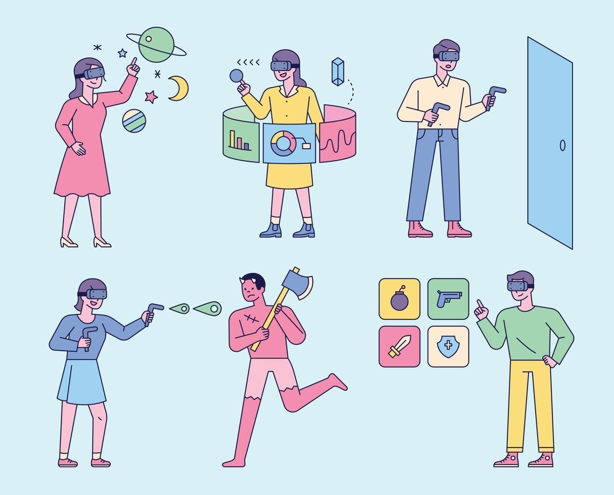 les gens qui aiment la technologie vr. les gens portent des lunettes de réalité virtuelle, jouent à des jeux, analysent des graphiques et sélectionnent des éléments. vecteur
