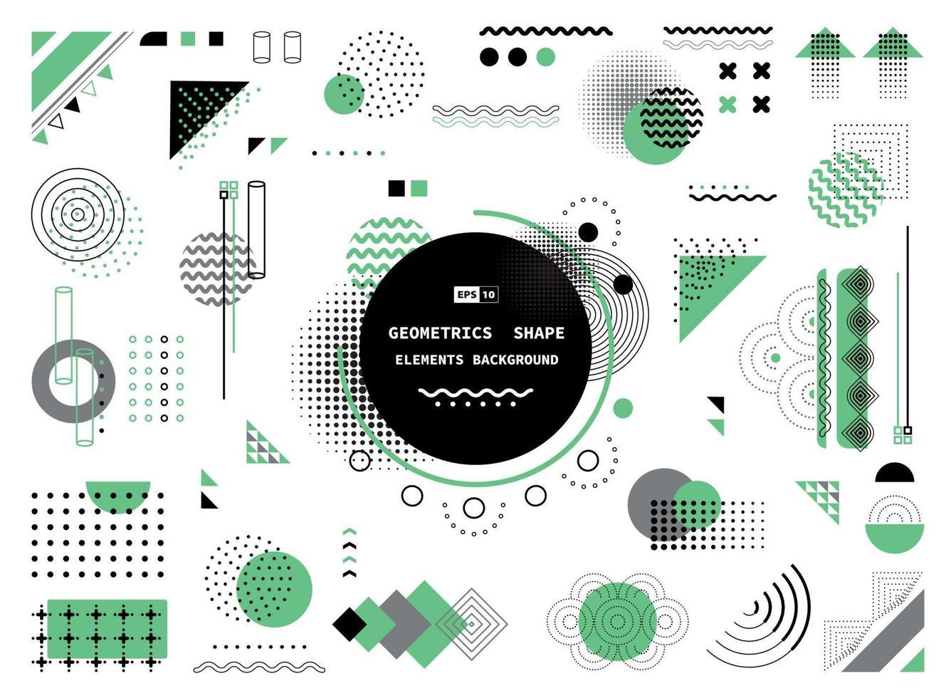 forme géométrique abstraite verte grise et noire de la conception de la couverture des éléments modernes. illustration vectorielle vecteur