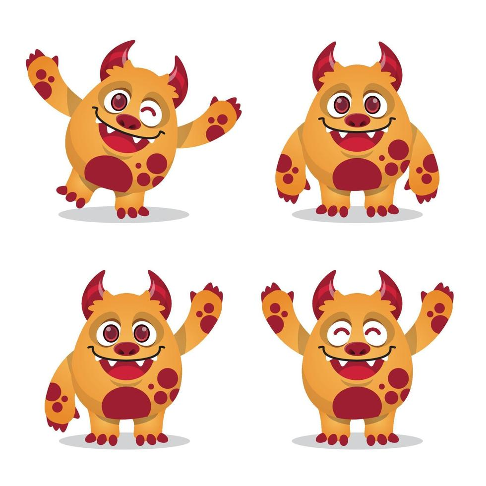 collection de jeux d'expression mascotte monstre vecteur