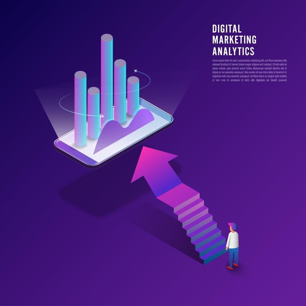 marketing numérique concept design plat, informations de données d'analyse du client avec homme d'affaires debout via ordinateur. vecteur