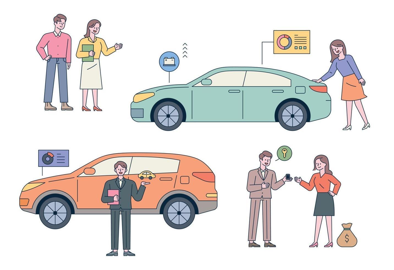 concessionnaire automobile. les clients vérifient les voitures. les concessionnaires automobiles expliquent. vecteur