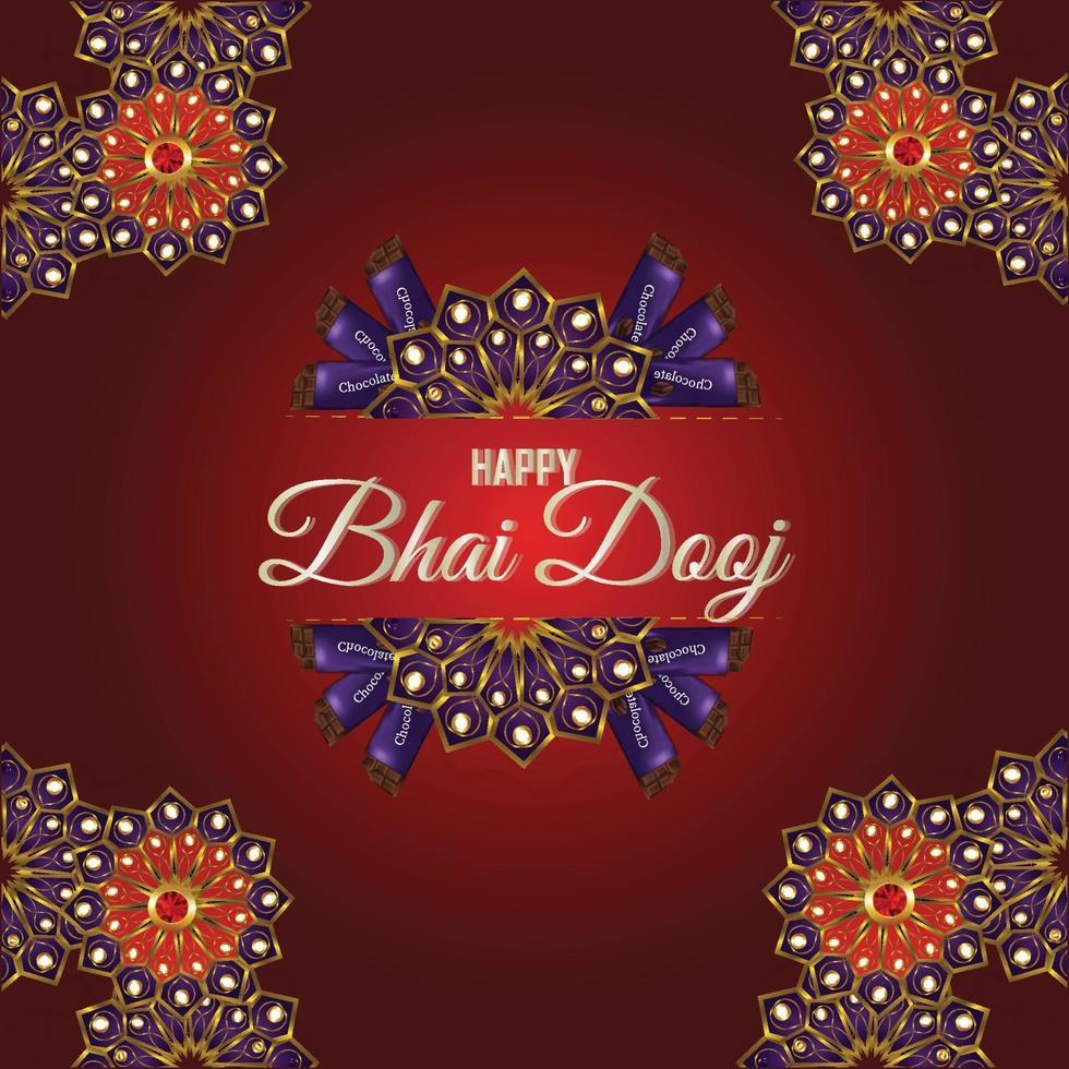 joyeux bhai dooj carte de célébration du festival avec puja thali vecteur
