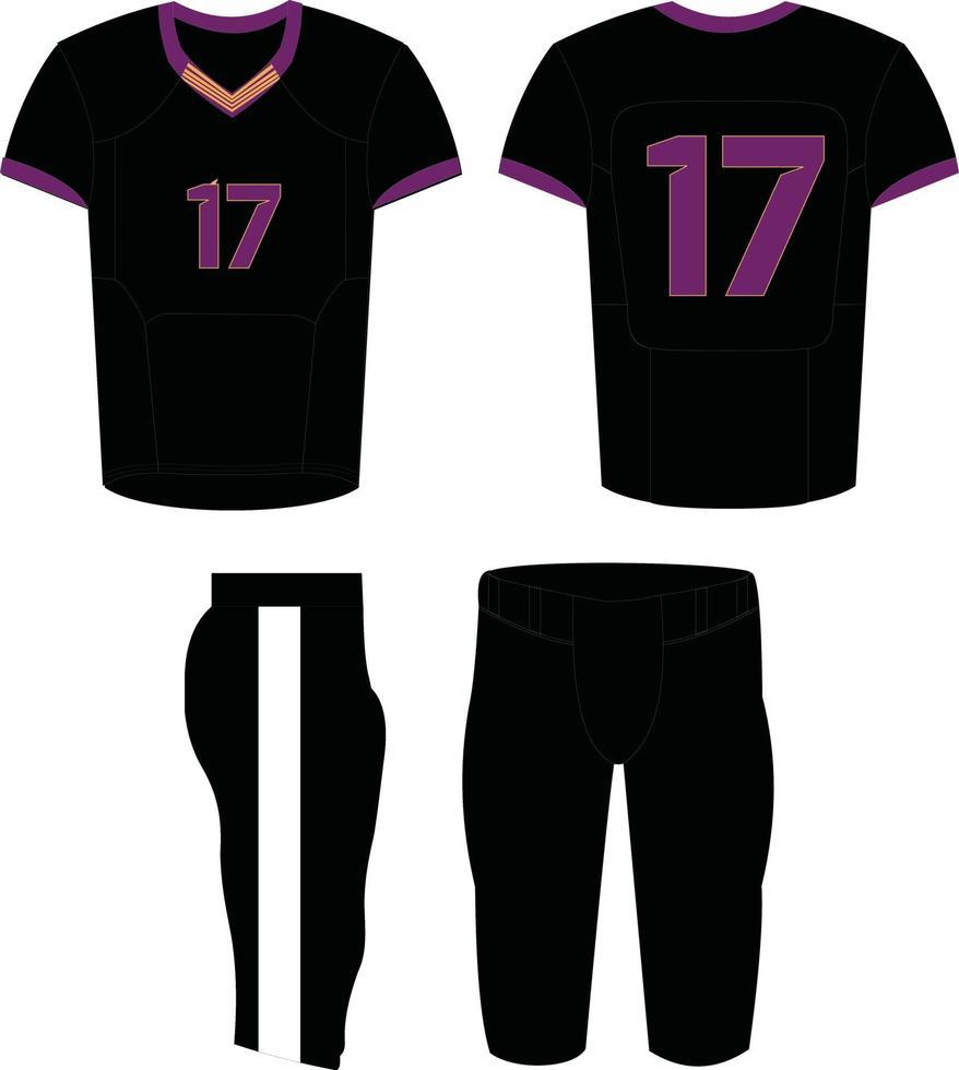 uniformes de football américain, illustration de conception personnalisée vecteur