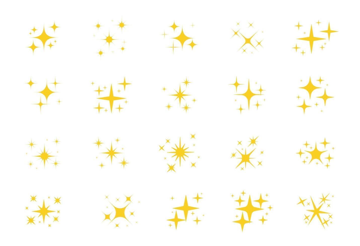 étoiles scintillantes. une étoile jaune scintillante et un élément scintillant sur fond blanc. vecteur