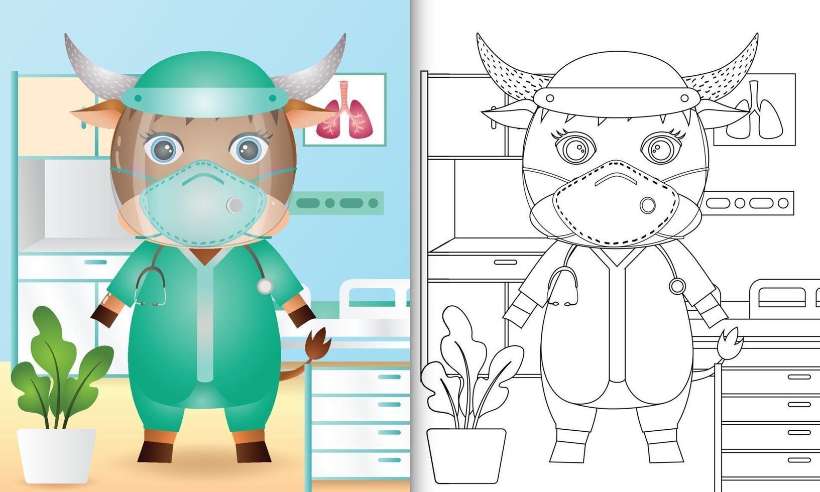 livre de coloriage pour les enfants avec une illustration de personnage de buffle mignon vecteur