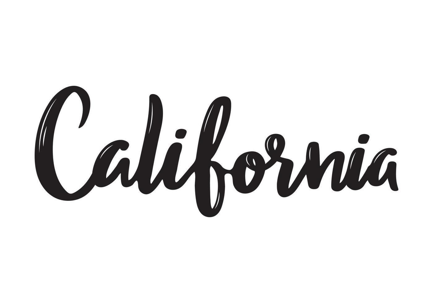 californie nom de calligraphie manuscrite de l'état des états-unis. calligraphie au pinceau dessiné à la main. vecteur