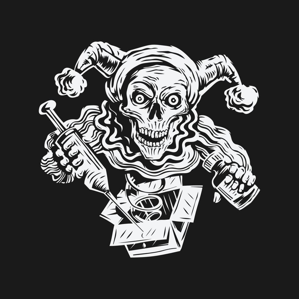 poisson d'avril. crâne tenant fond d & # 39; illustration vectorielle injection et poison vecteur