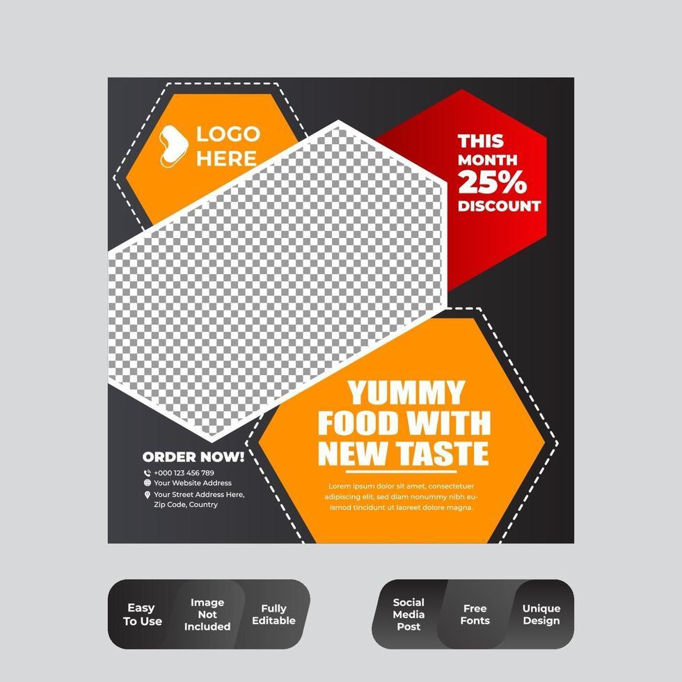 modèle de nourriture de médias sociaux vecteur