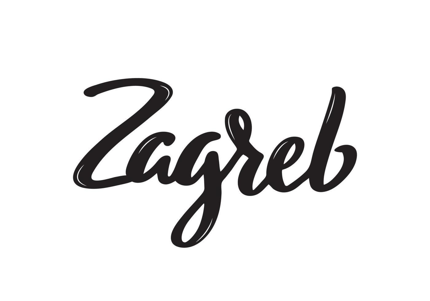 Nom de la calligraphie manuscrite de Zagreb de la ville de croatie. calligraphie au pinceau dessiné à la main. vecteur