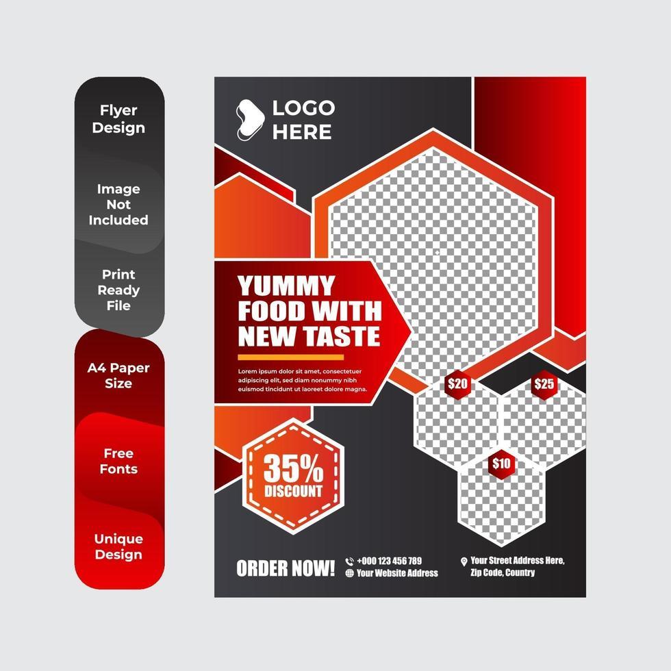 modèle de conception de brochure dépliant de livraison de nourriture vecteur