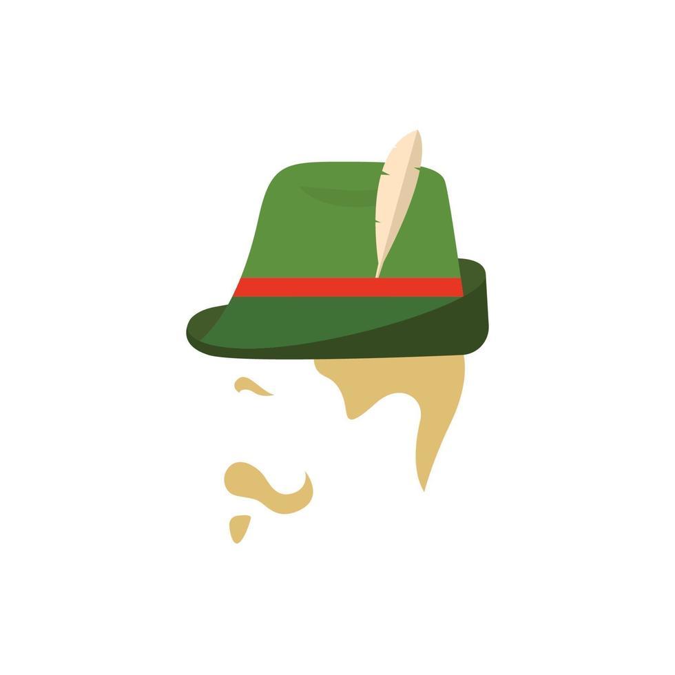 homme avec chapeau vert allemand traditionnel. vecteur