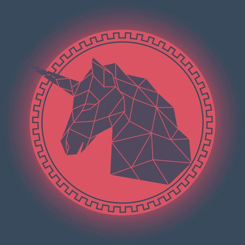 tête de licorne géométrique. style antique. vecteur